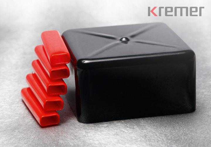 KREMER – Rechtkantkappen in rot und schwarz