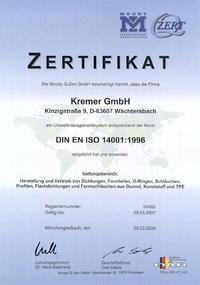 KREMER - Zertifikat für Qualitätsmanagement DIN ISO 14001:1996