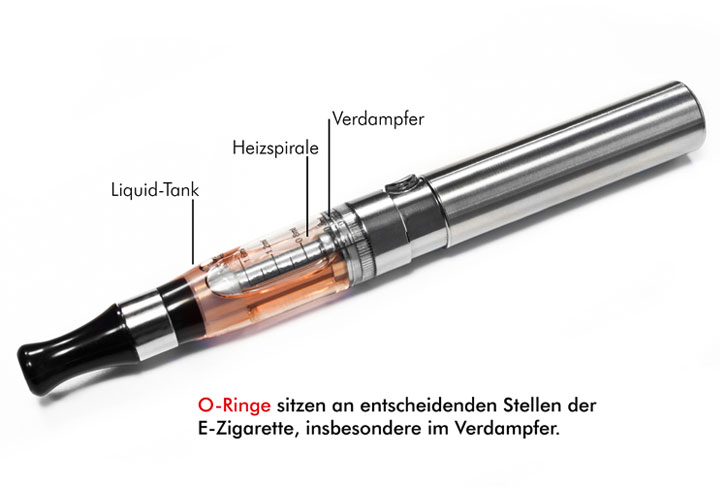 E-Zigarette mit O-Ringen