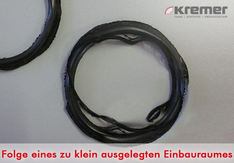 Schadensbild am O-Ring aufgrund eines zu klein ausgelegten Einbauraumes