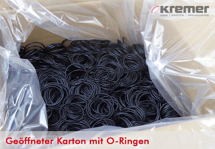 Geöffneter Karton mit O-Ringen