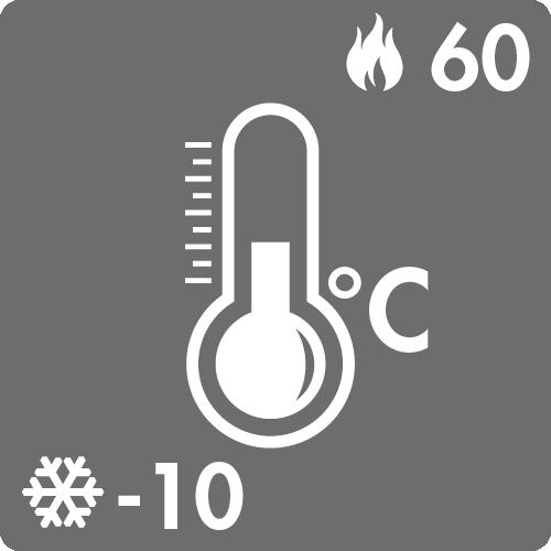 Dauertemperaturbereich in Luft: -10°C bis +60°C