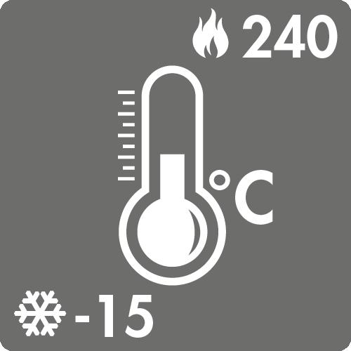 Dauertemperaturbereich in Luft: -15°C bis +240°C