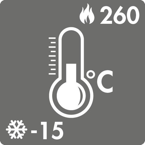 Dauertemperaturbereich in Luft: -15°C bis +260°C
