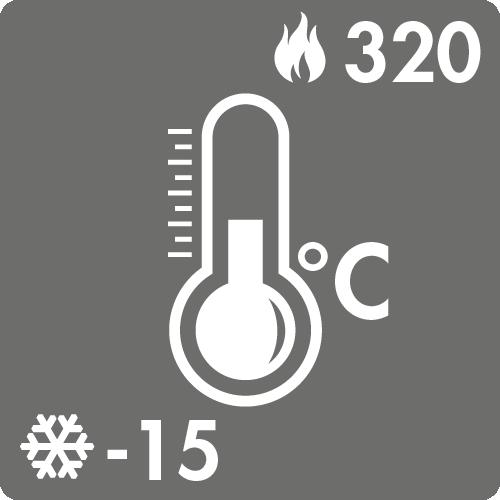 Dauertemperaturbereich in Luft: -15°C bis +320°C