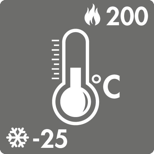 Dauertemperaturbereich in Luft: -25°C bis +200°C
