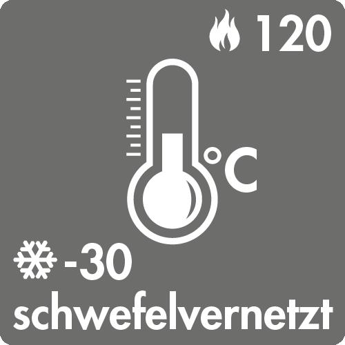Dauertemperaturbereich in Luft: -30°C bis +120°C schwefelvernetzt