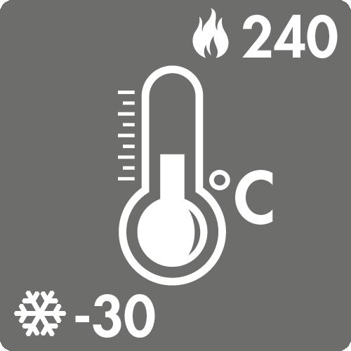 Dauertemperaturbereich in Luft: -30°C bis +240°C