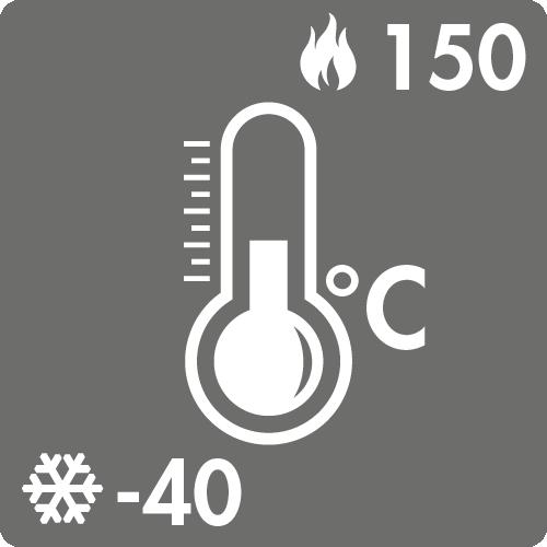 Dauertemperaturbereich in Luft: -40°C bis +150°C