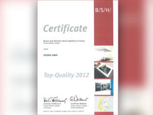 Zertifikat für Top-Qualität 2012